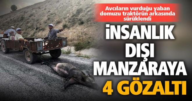 Tüfekle vurulup, sürüklenen domuz görüntülerine 4 gözaltı