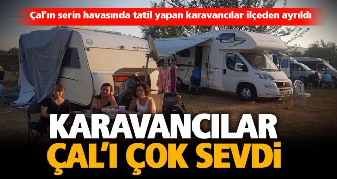 Çal'ın serin havasında tatil yapan karavancılar ilçeden ayrıldı