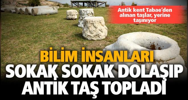Kale sokaklarından tarihi antik taşlar, antik kente taşındı