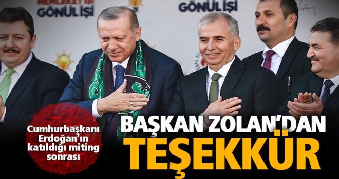 Cumhurbaşkanı Erdoğan'ın katıldığı miting sonrası teşekkür